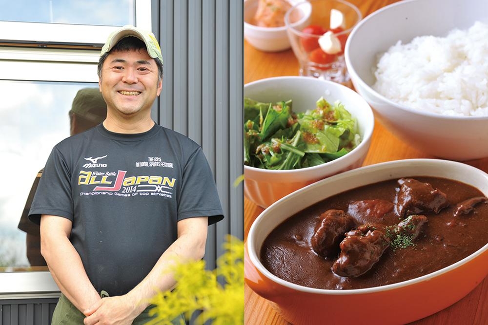 (右)お肉ゴロゴロ飛騨牛カレー(左)チロル店主