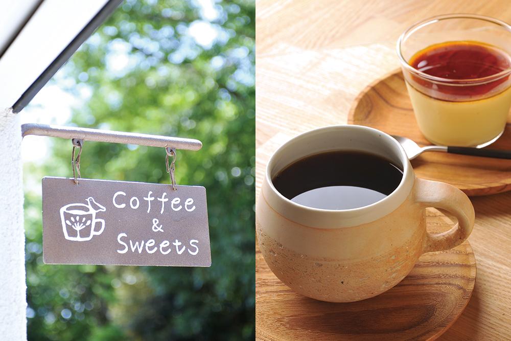 左 旅人の木看板  右 コーヒーとプリン