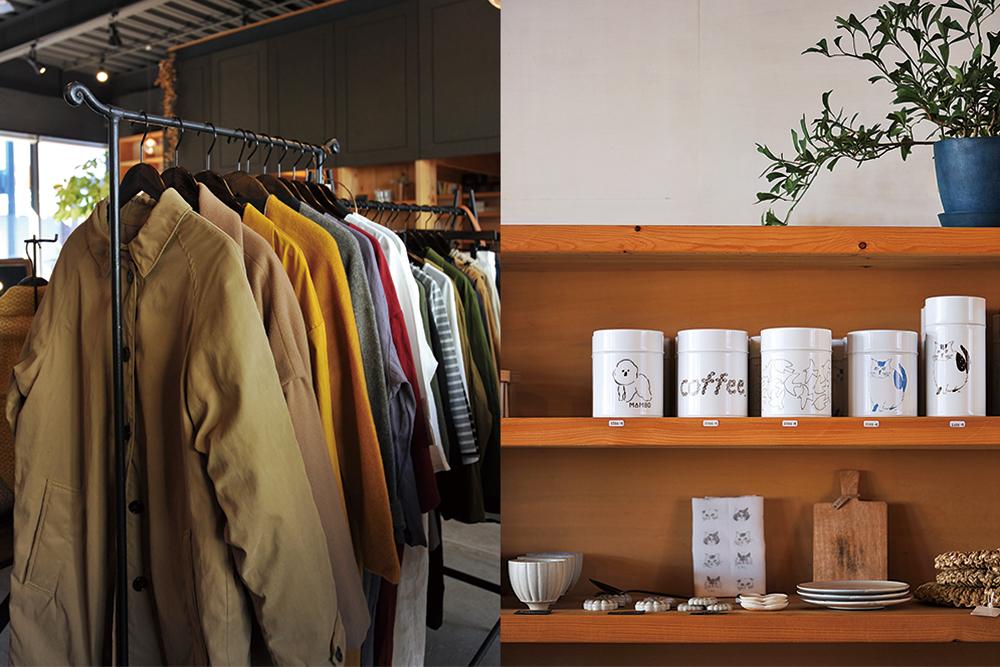 (左に)洋服(右に)缶や皿の並ぶ棚