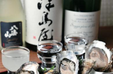 百蔵_生牡蠣と日本酒のセット