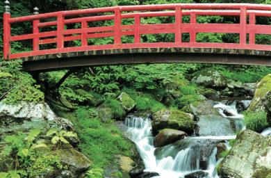 白鳥イメ_阿彌陀ケ滝の赤い橋