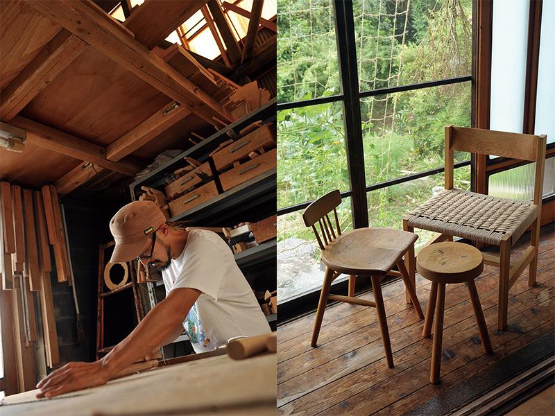 ピネル工房の店主作業の様子と家具